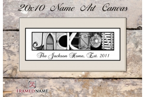 Canvas-Housewarming Tan Name Art - 11