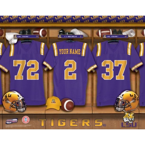 Auburn Tigers University Football Team Locker Room Personalized Jersey Officially Licensed NCAA Sports Photo 11 x 14 Print